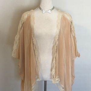 Blush Winter Kate Vintage Silk/Lace Kimono Topper